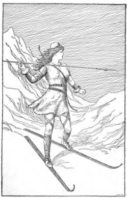 Skadi_Hunting_in_the_Mountains_by_H__L__M