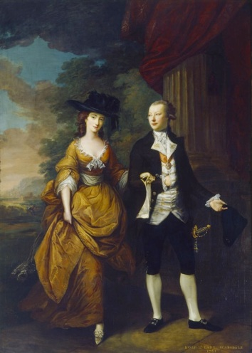 THE 1st LORD AND LADY SCARSDALE WALKING IN THE GROUNDS OF KEDLESTON, 1761 by Nathaniel Hone (1718-1784) at Kedleston Hall, Derbyshire